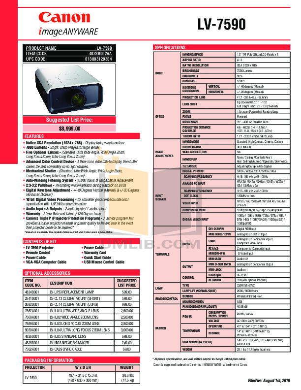 pdf for Canon Projector LV-7590 manual