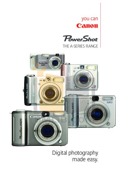 pdf for Canon Digital Camera Powershot A620 manual