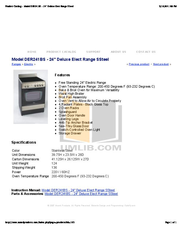 pdf for Avanti Range DER241BS manual