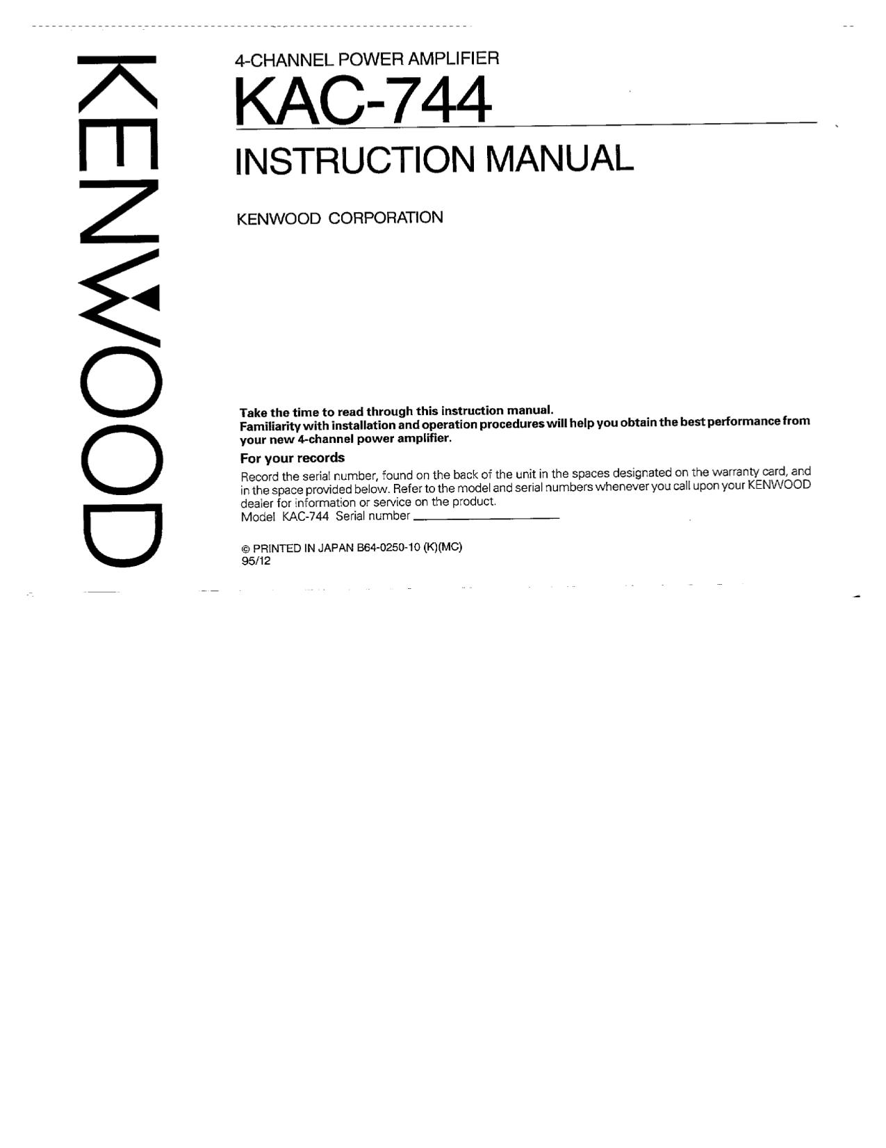 pdf for Kenwood Amp KAC-744 manual