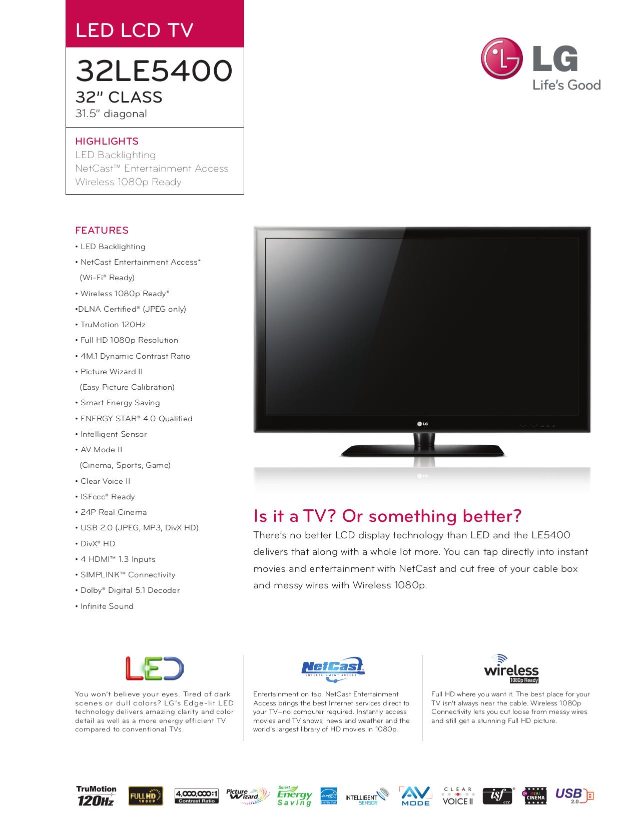 pdf for LG TV 32LE5400 manual