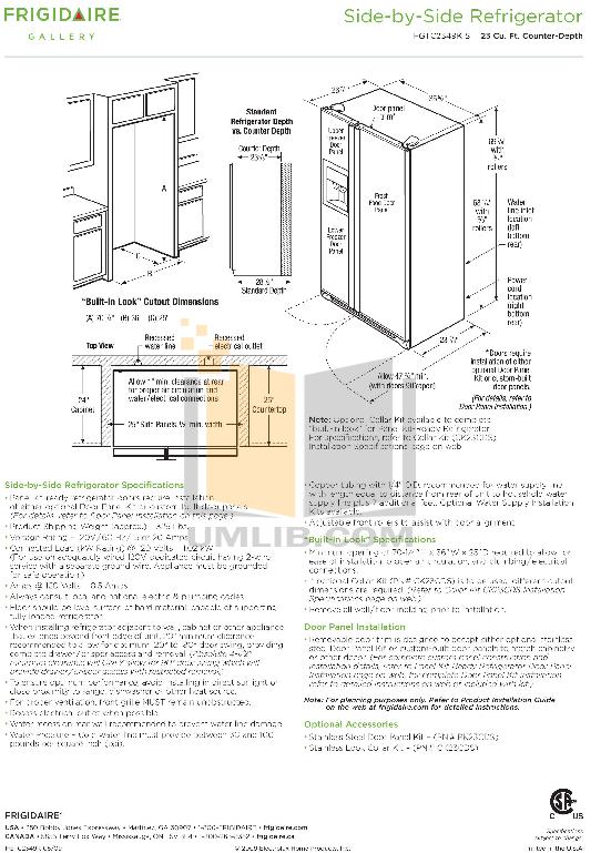 pdf for Frigidaire Refrigerator Gallery FGTC2349KS manual