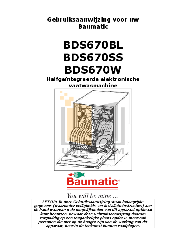 Baumatic Dishwasher BDW15 pdf page preview