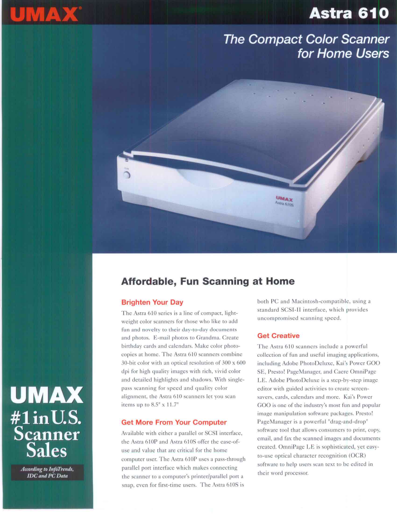 pdf for Umax Scanner Astra 610S manual