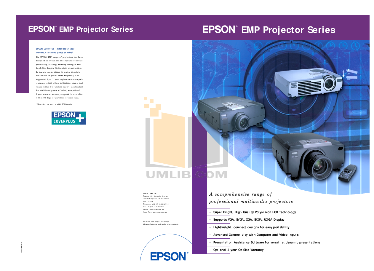 pdf for Epson Projector EMP-9000 manual