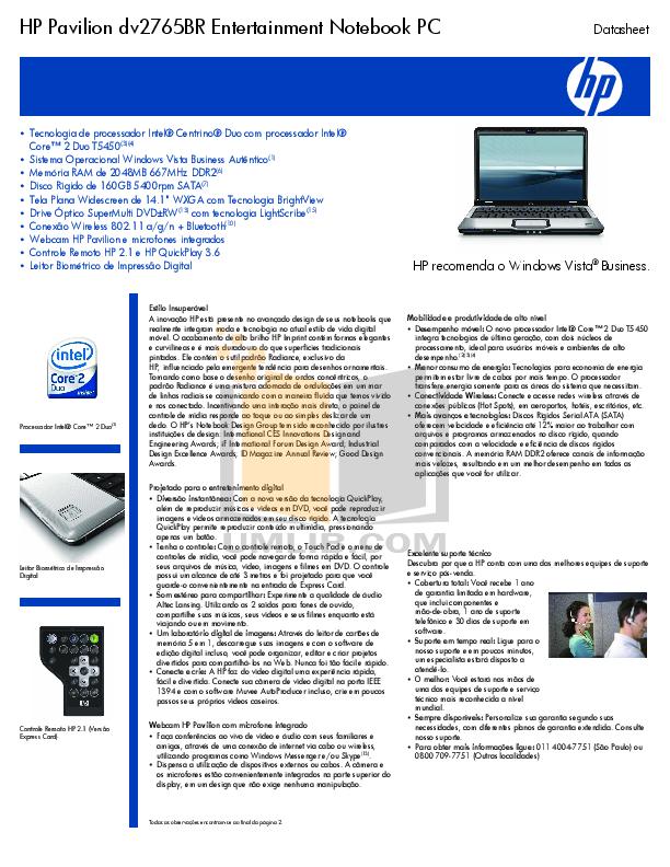 pdf for HP Laptop Pavilion DV2765 manual