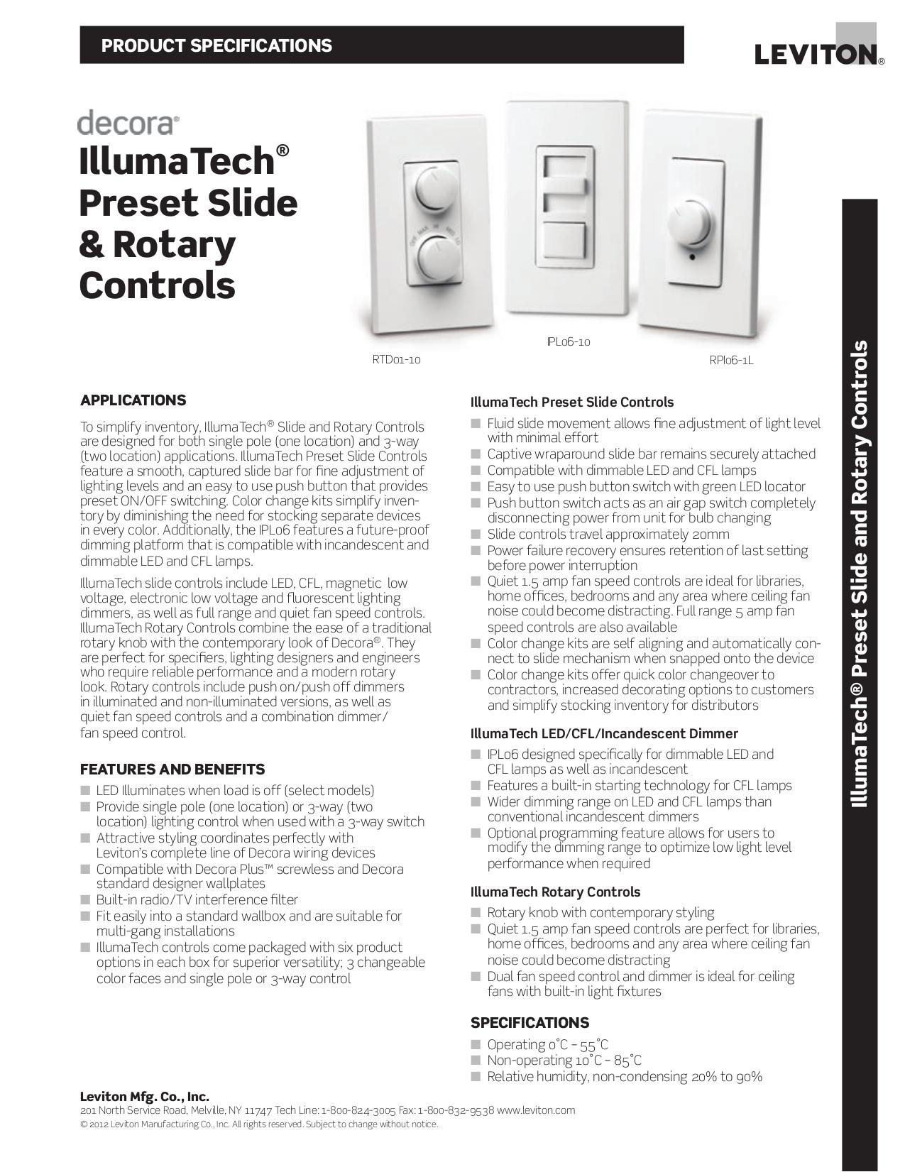 pdf for Leviton Other Illumatech IPI06-1L Dimmers manual