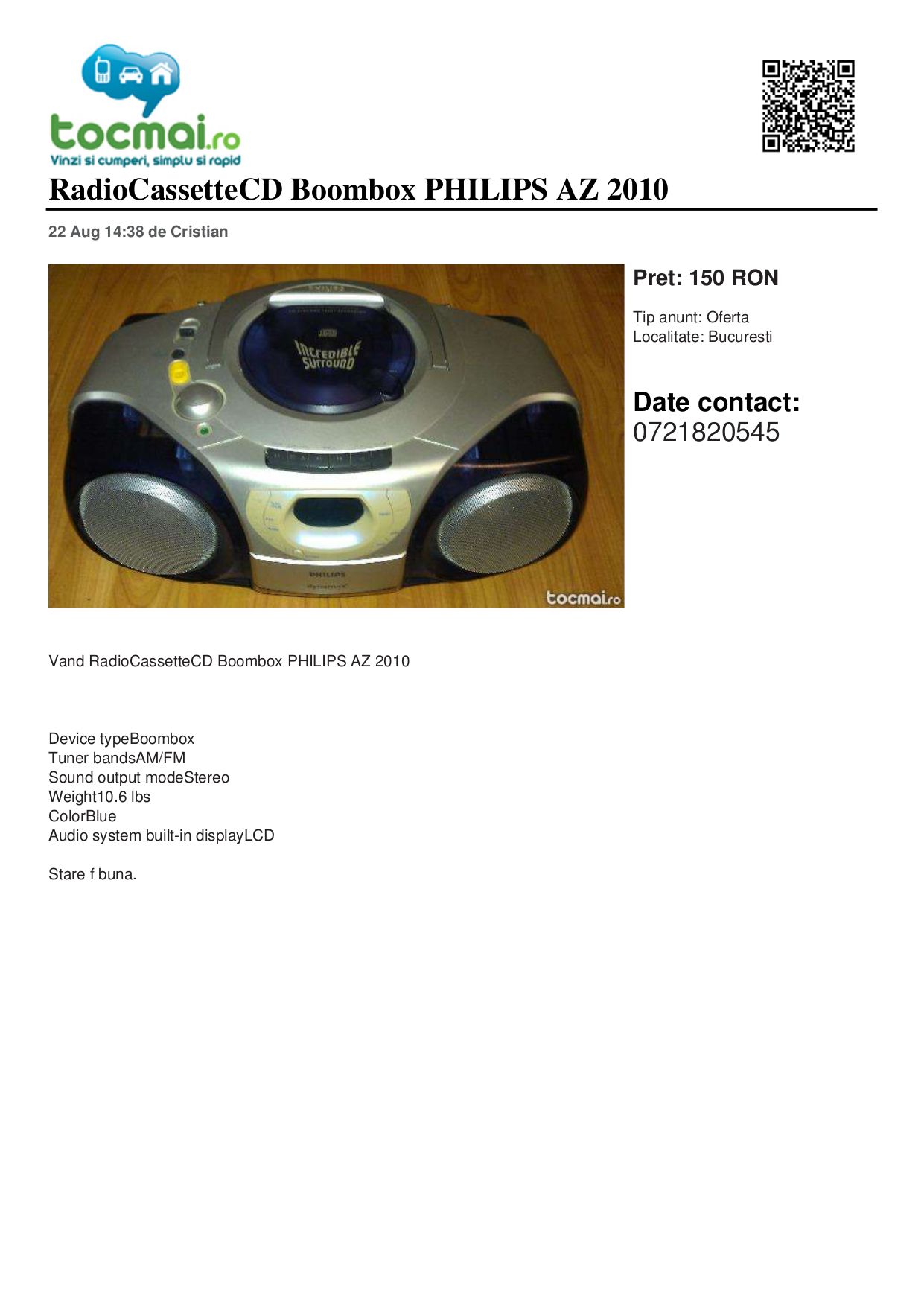 pdf for Philips Boombox AZ2010 manual
