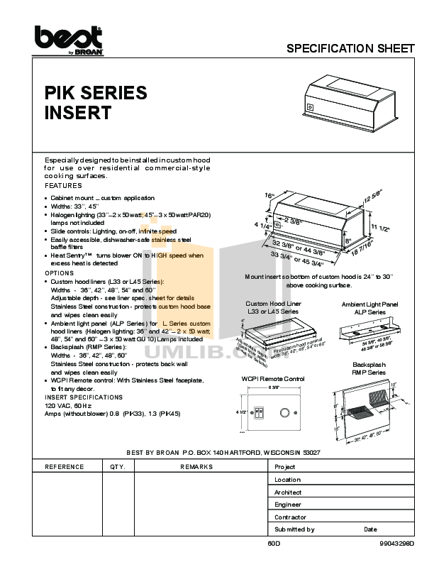 pdf for Broan-NuTone Other PIK45 Hoods manual