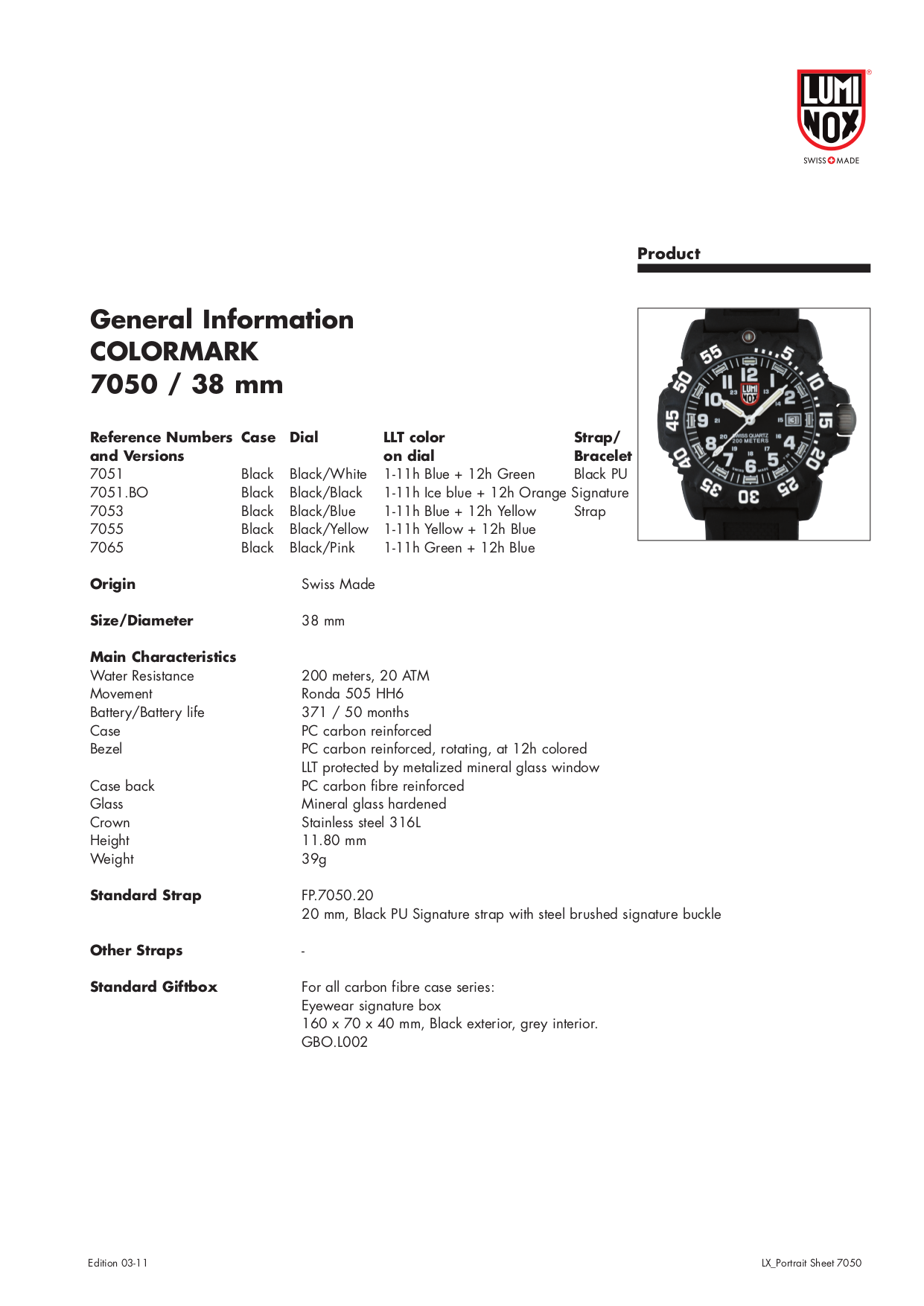 pdf for Luminox Watch 7055 manual