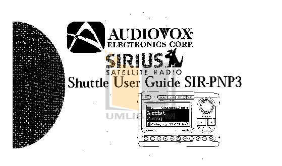 pdf for Audiovox Satellite Radio SIR-BB3 manual