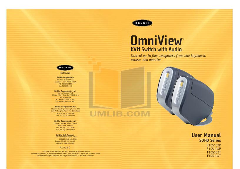 pdf for Belkin Switch F1D082 manual
