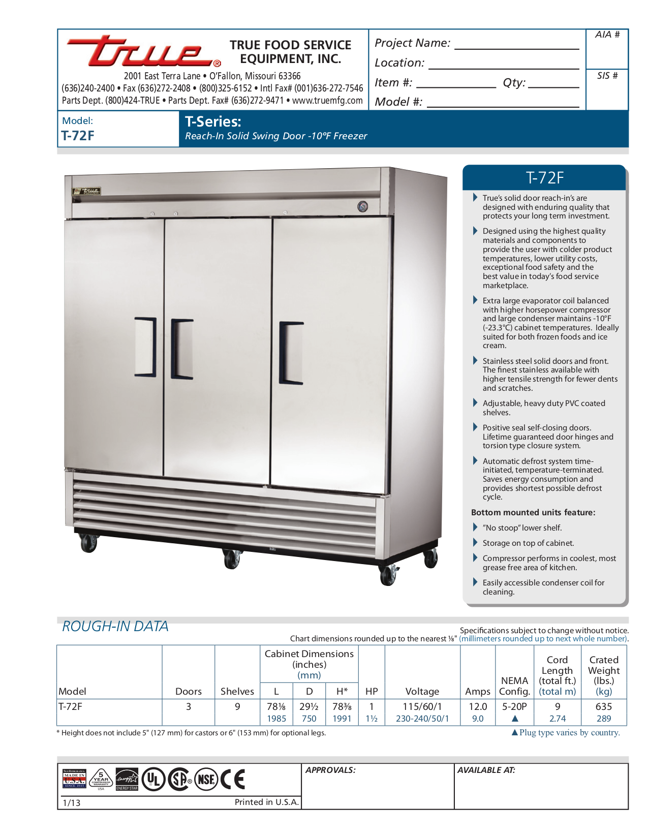 T 72F_Spec_Sheet.pdf 0 download free pdf for true t 72f freezer manual  at fashall.co