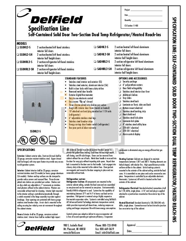 pdf for Delfield Refrigerator SSDHL2-S manual