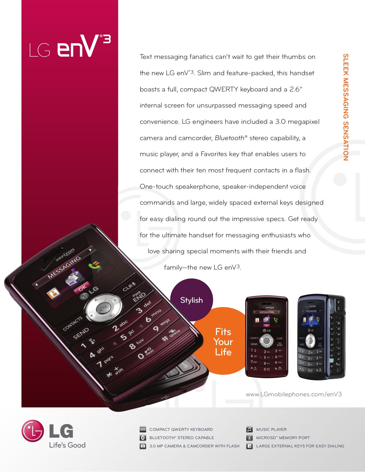 pdf for LG Cell Phone enV3 manual