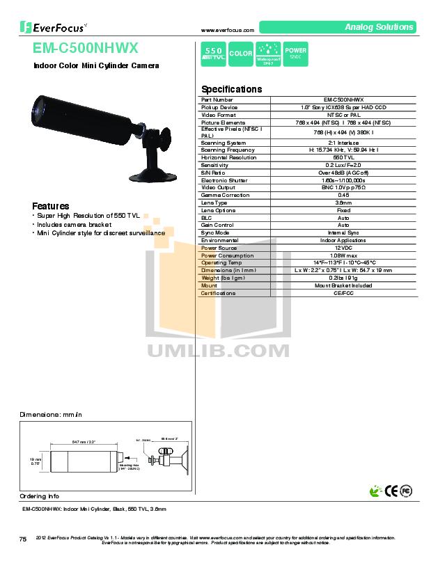 pdf for EverFocus Security Camera EMC500NHWX manual