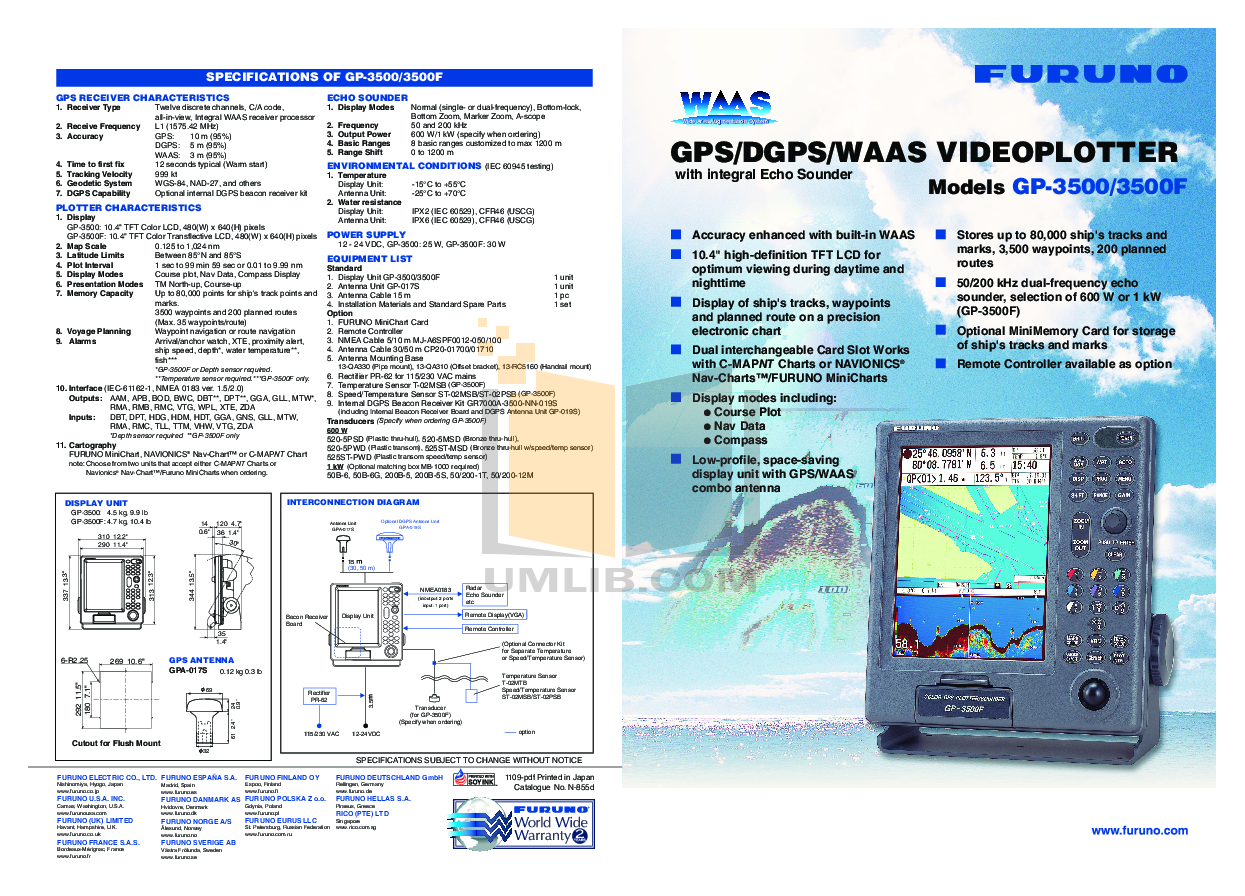 pdf for Furuno GPS GP-3500F manual