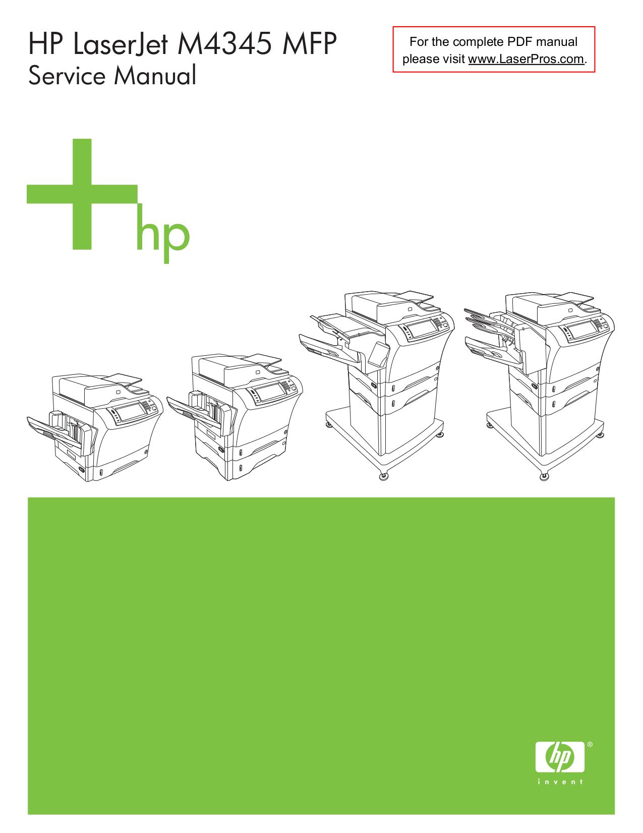 download free pdf for hp laserjet color laserjet m4345 multifunction rh umlib com hp 4345 mfp service manual download hp 4345 mfp service manual download