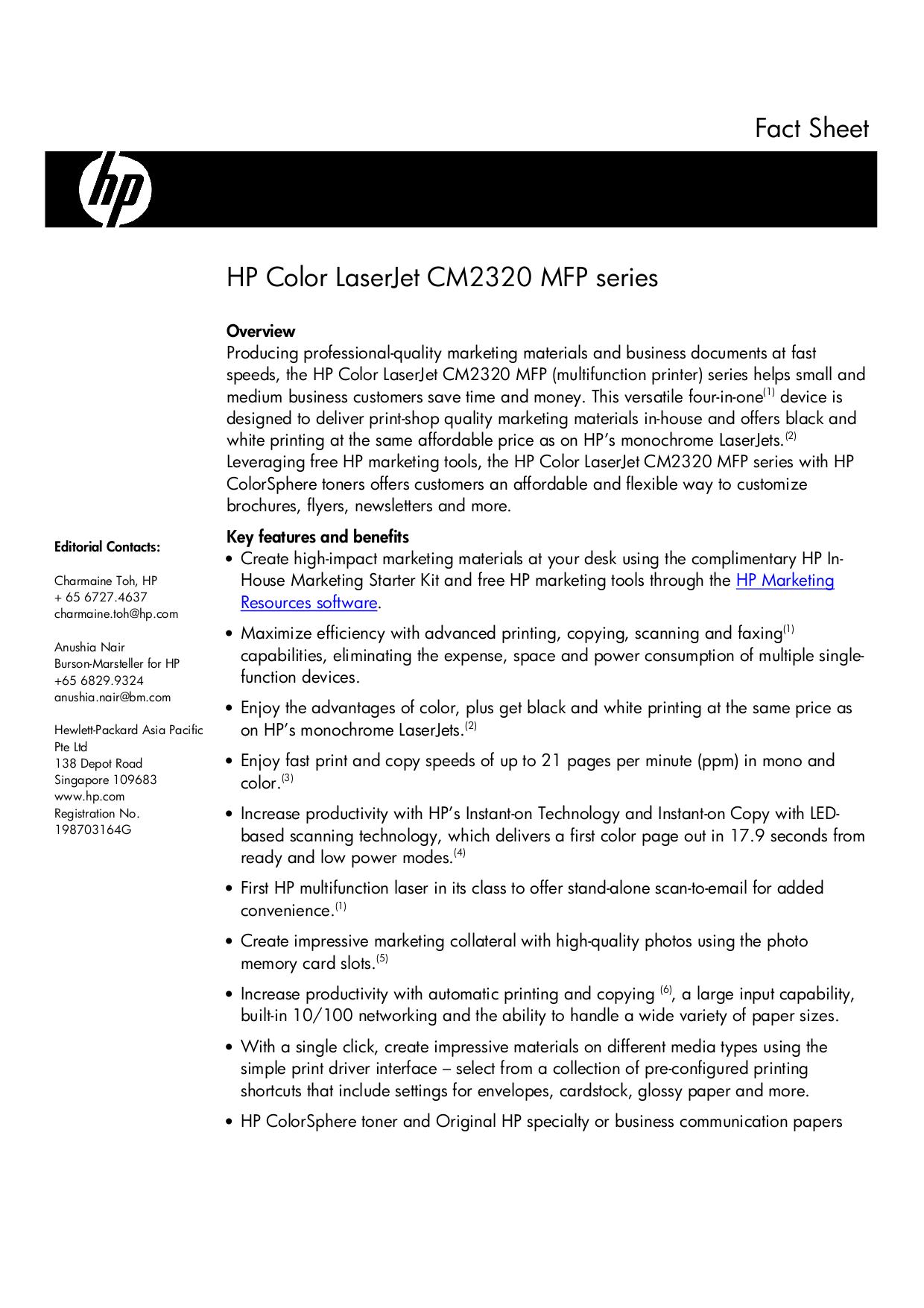 pdf for HP Multifunction Printer Laserjet,Color Laserjet CM2320fxi manual