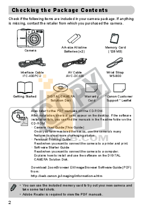 Canon Digital Camera Powershot A1100 IS pdf page preview