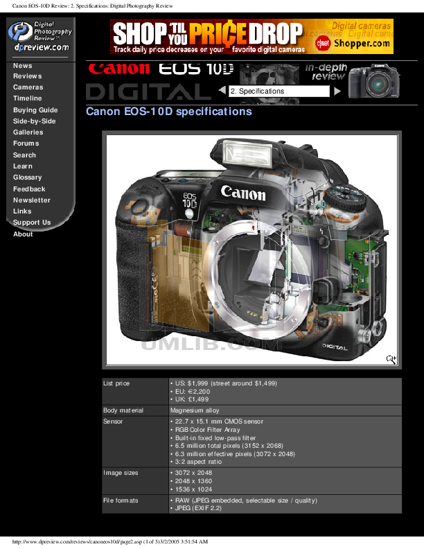 Canon Digital Camera EOS 10D pdf page preview