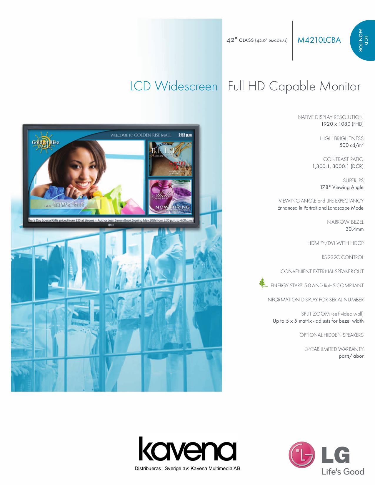 pdf for LG Monitor M4210LC manual