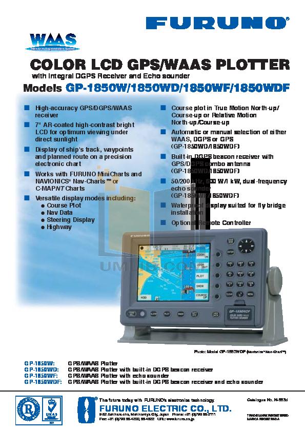 pdf for Furuno GPS GP-1850WDF manual