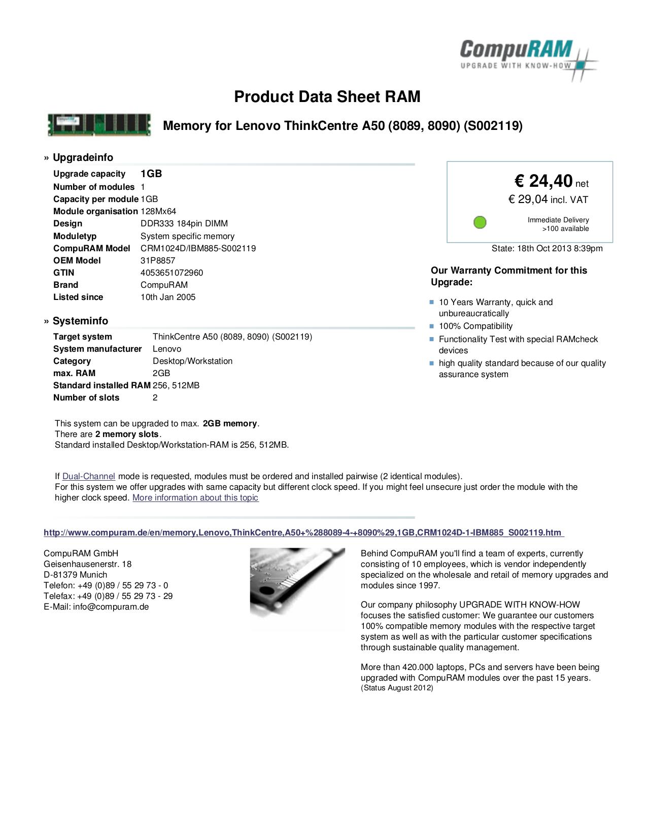 Lenovo Desktop ThinkCentre A50 8090 pdf page preview