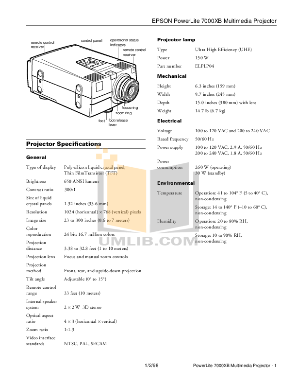 pdf for Epson Projector PowerLite 7000XB manual