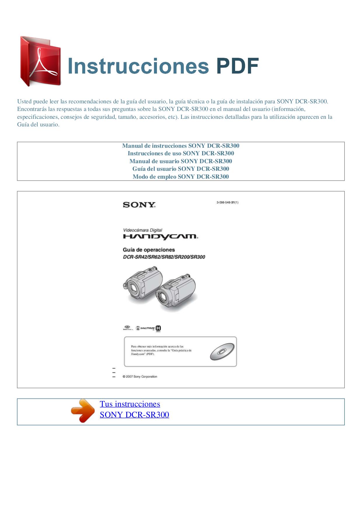 Инструкция sony handycam dcr sr300