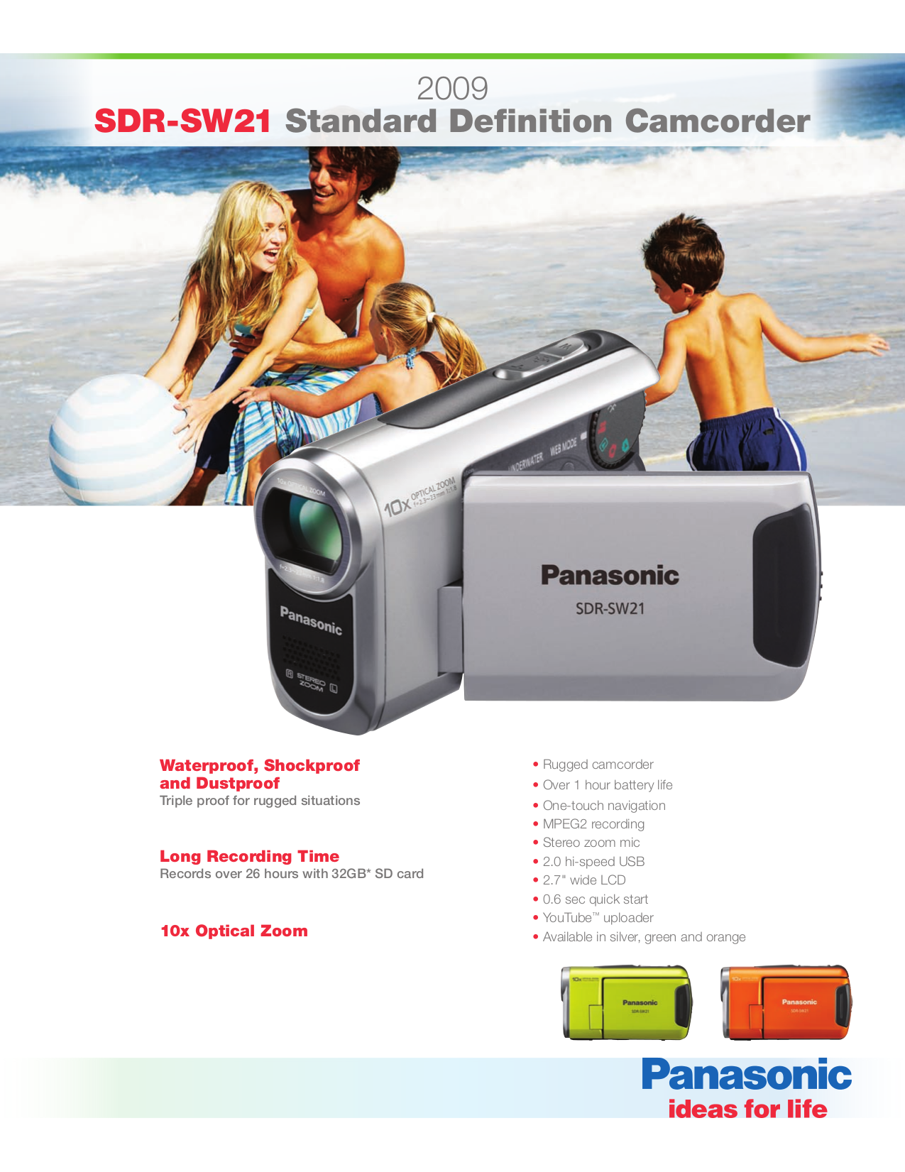 Download free pdf for Panasonic SDR-SW21 Camcorders manual
