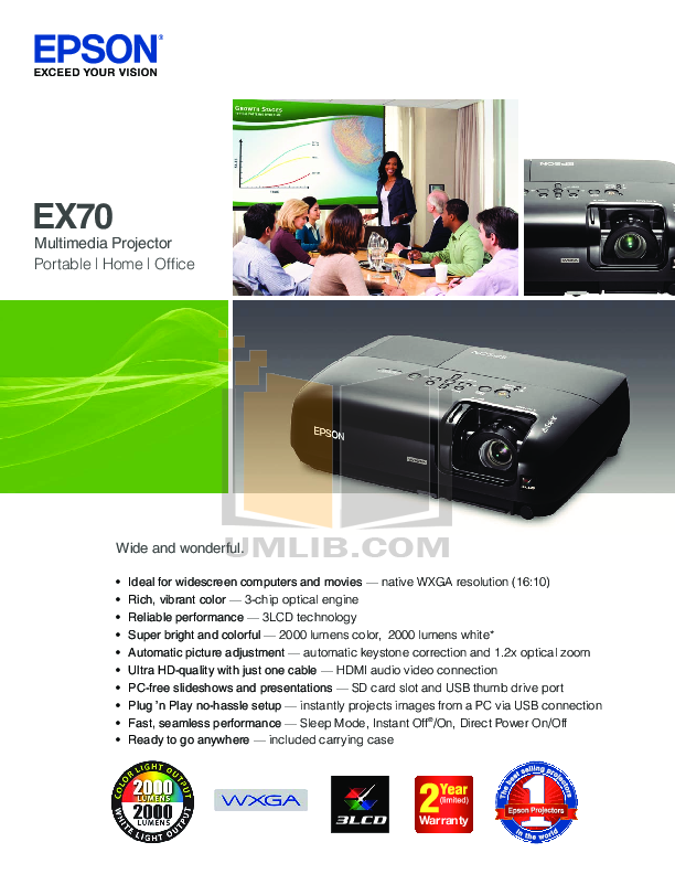 pdf for Epson Projector EX70 manual