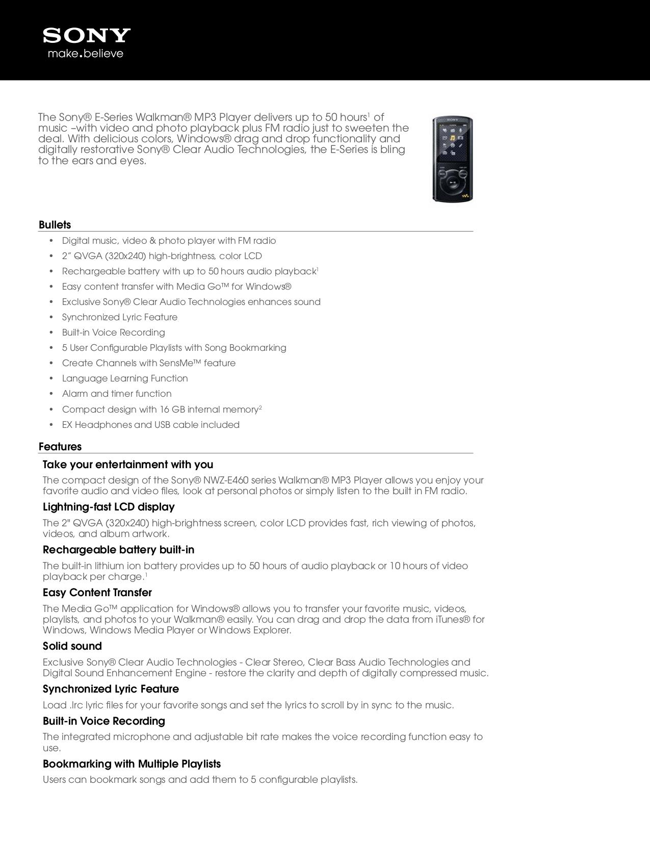 download free pdf for sony walkman nwz e465 mp3 player manual rh umlib com Compare Sony Nwz 273 Sony Nwz E436F Cable