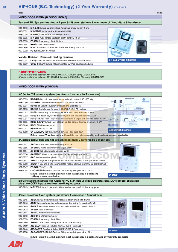 Aiphone Other AX-16SW Intercoms-Accessory pdf page preview