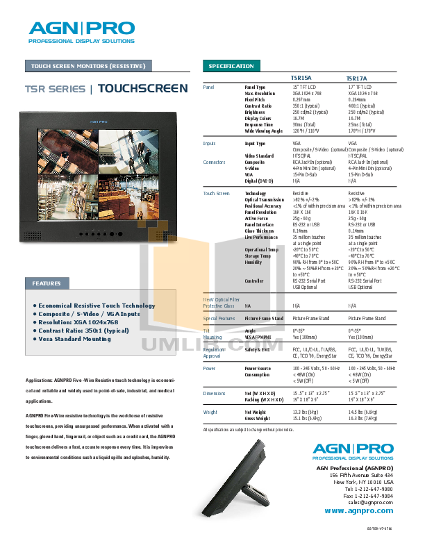 pdf for Agnpro Monitor TSR-17A manual