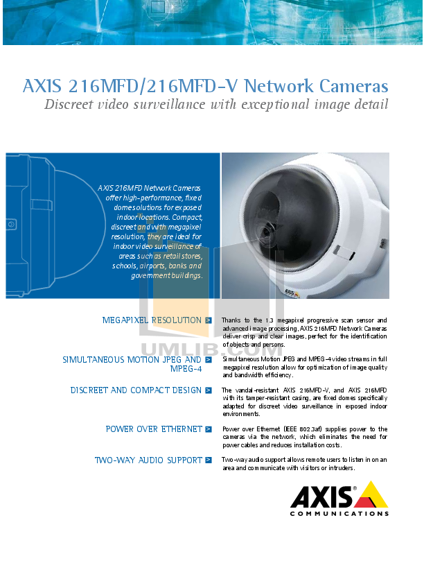 pdf for Axis Security Camera 216MFD manual