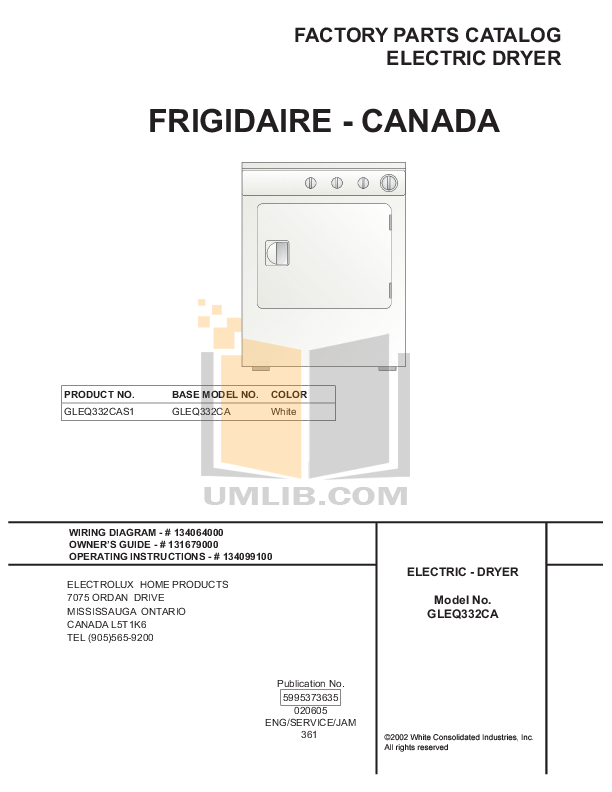 pdf for Frigidaire Dryer GLEQ332CAS1 manual