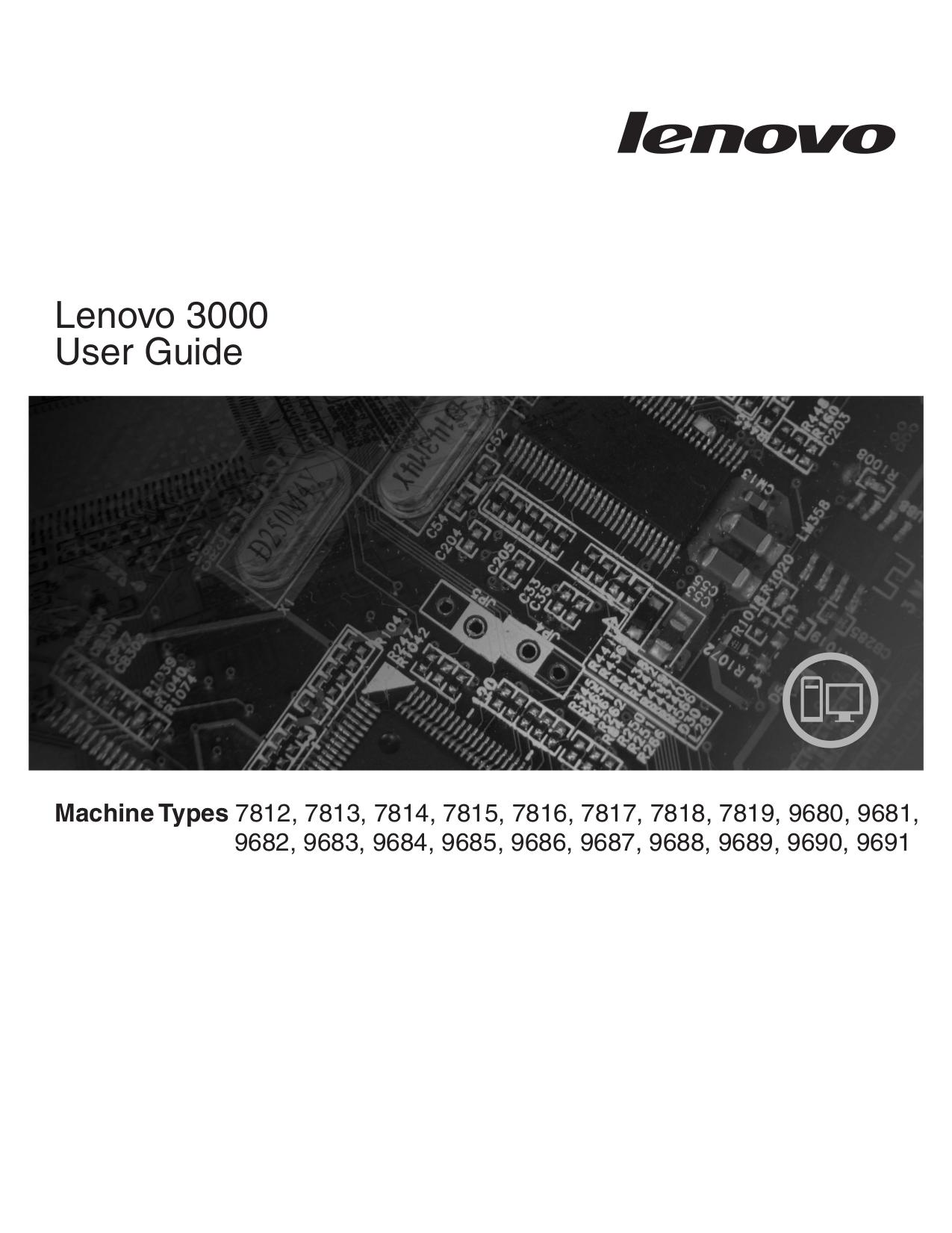 pdf for Lenovo Desktop 3000 J200 Value manual