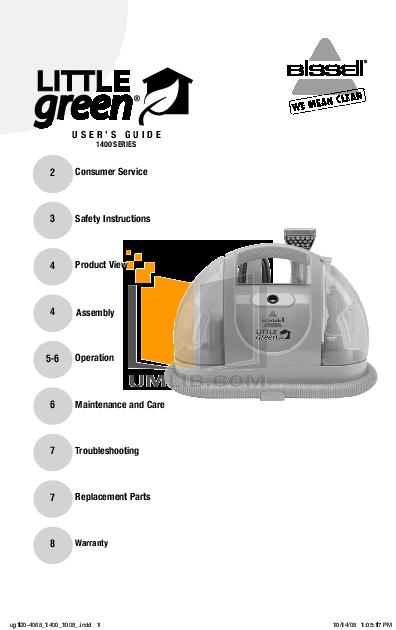 pdf for Bissell Vacuum 1400 manual