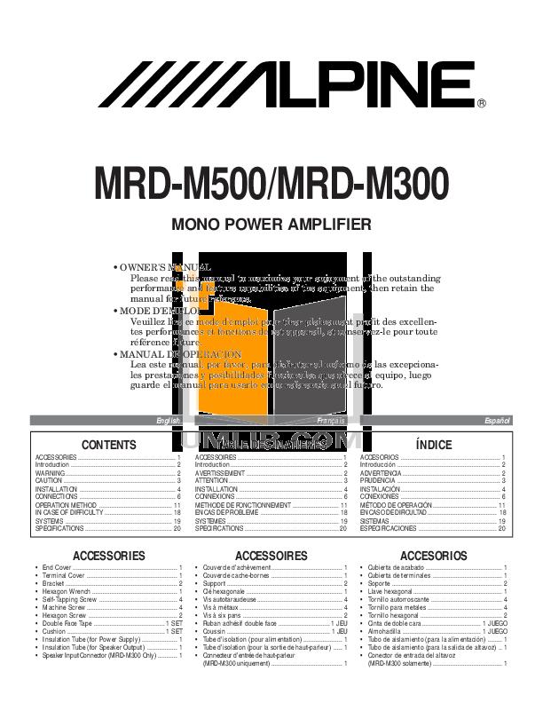 download free pdf for alpine mrd m500 car amplifier manual rh umlib com Alpine MRP M350 alpine mrp-m500 owners manual