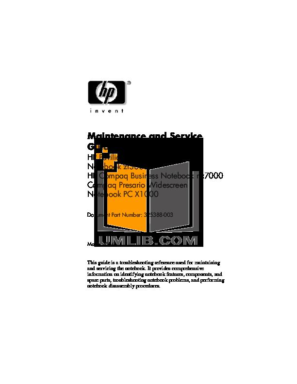 pdf for HP Laptop Compaq Presario,Presario X1075 manual