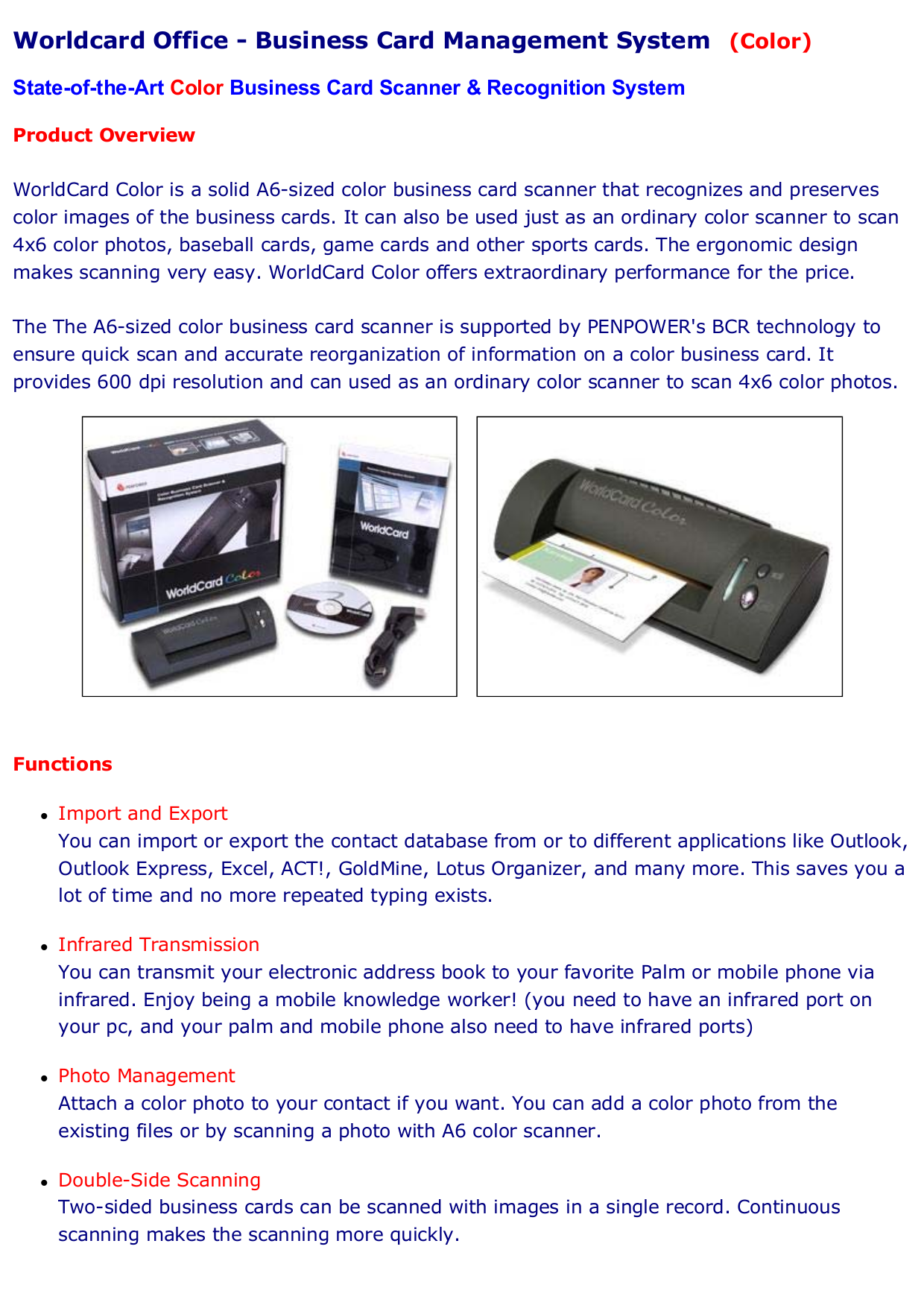 Download free pdf for Penpower WorldCard Color Scanner manual