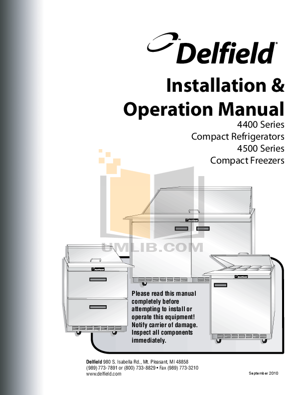 pdf for Delfield Refrigerator UCD4464N manual