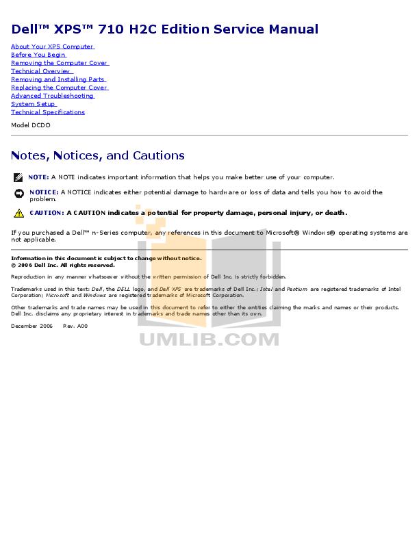 download free pdf for dell xps 710 desktop manual rh umlib com Dell XPS 720 Specs Dell XPS 710 Motherboard