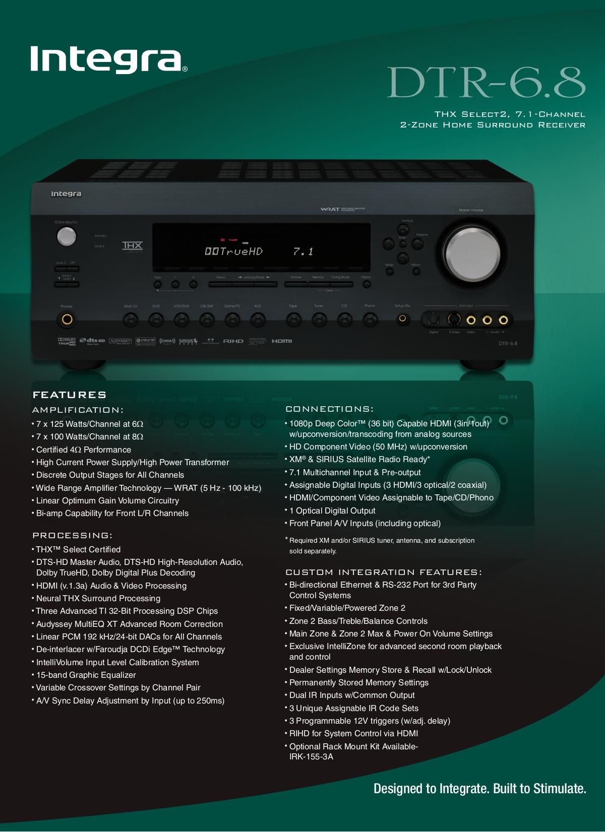 pdf for Integra Receiver DTR-7 manual