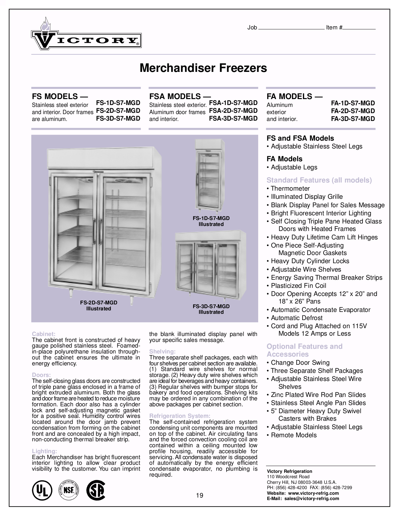 pdf for Victory Freezer FA-2D-S7 manual