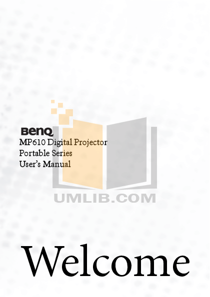 pdf for Benq Projector MP610 manual