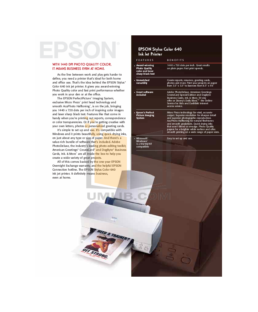 pdf for Epson Printer Stylus Color 640 manual