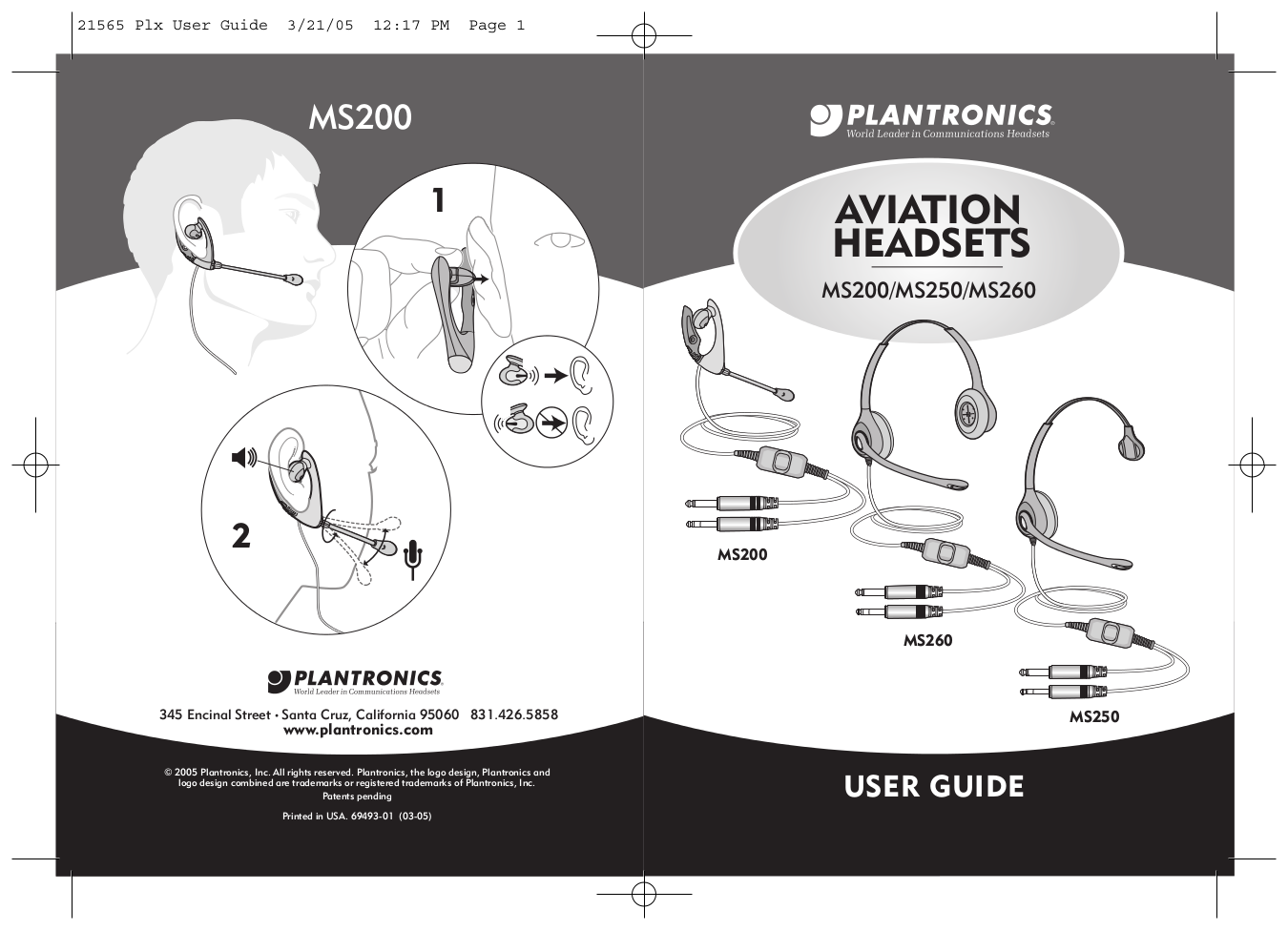 Download Free Pdf For Plantronics Aviation Ms250 Headset Manual