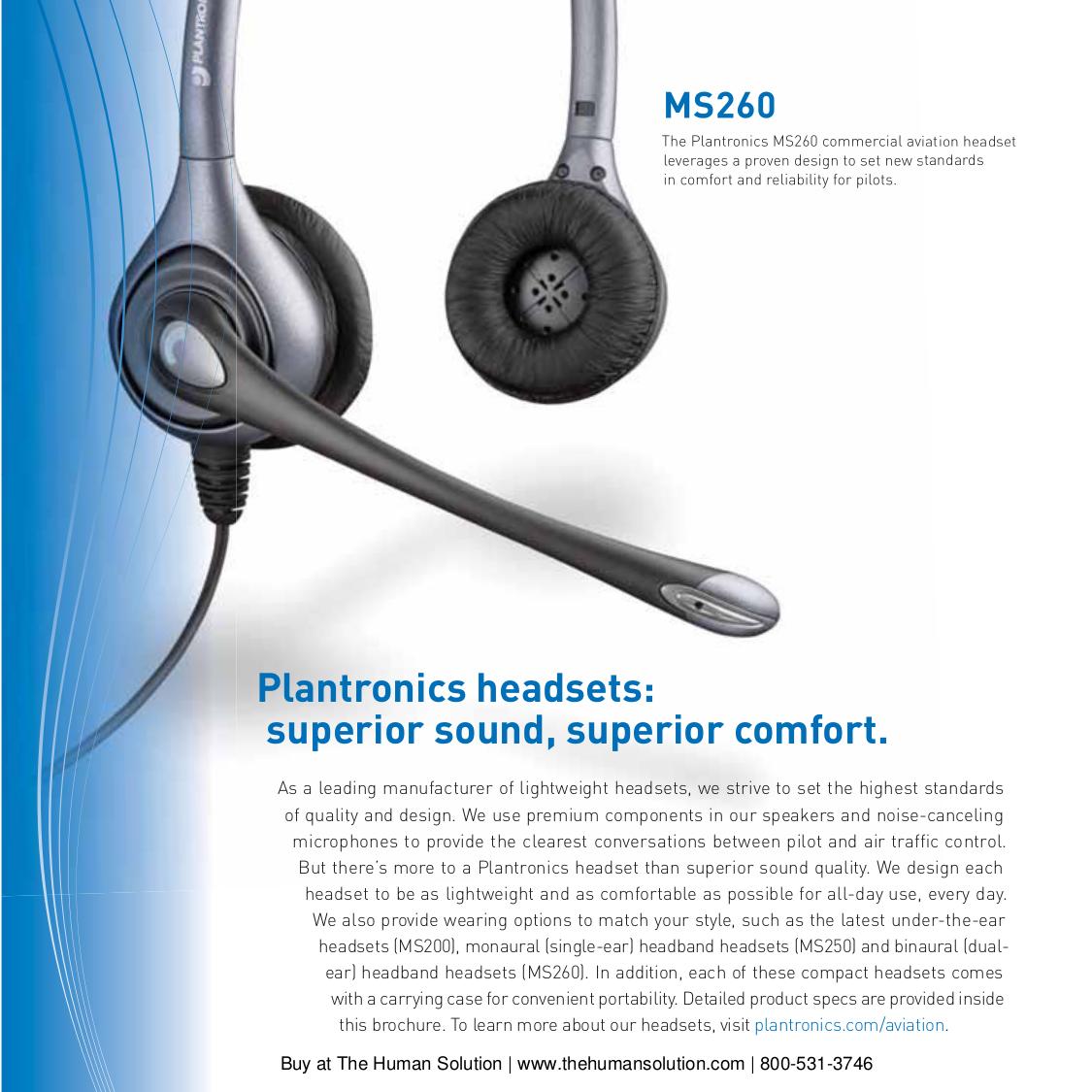 PDF manual for Plantronics Headset Aviation MS250